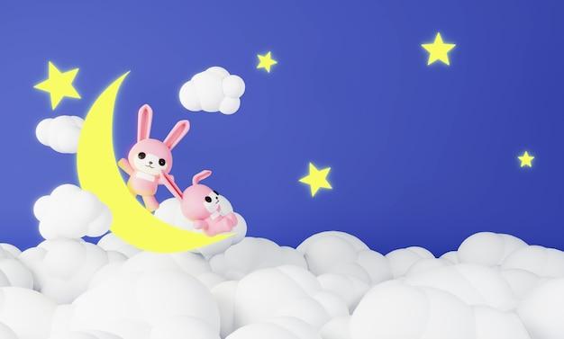 Conejos rosados sentados en la luna
