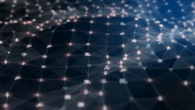 Conexión de datos digitales de red de tecnología y antecedentes de mercadeo en red