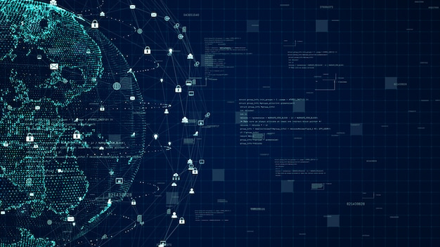 Conexión de datos de red de tecnología, red de datos digitales y concepto de seguridad cibernética. elemento tierra provisto por la nasa.