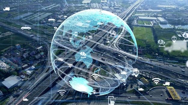 Conexión global y modernización del tráfico en ciudad inteligente