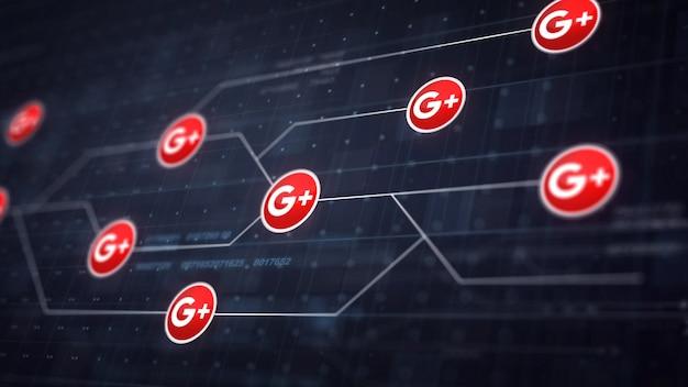 Conexión de la línea de iconos de google plus de la tarjeta de circuitos