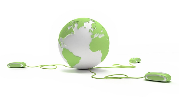 Conexión mundial en verde