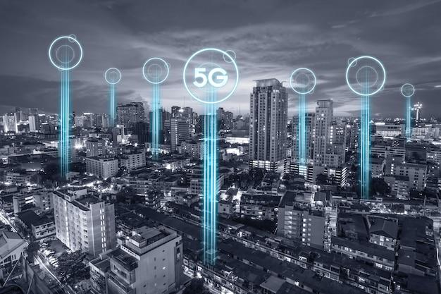 Conexión de red de comunicación 5g para internet.