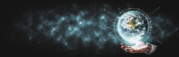 Conexión de red global que cubre la tierra con enlace de percepción innovadora