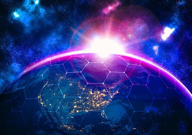 Conexión de red global que cubre la tierra con líneas de percepción innovadora