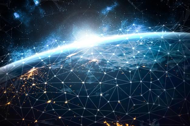 Conexión de red global que cubre la tierra