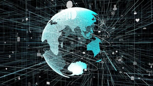 Conexión de red de internet en línea global