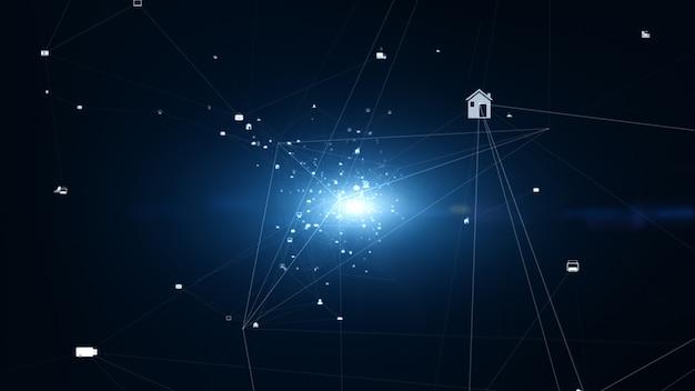 Conexión de red tecnológica y datos digitales con íconos de redes sociales para conexiones mundiales