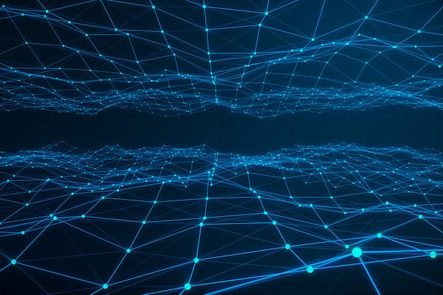 Conexión tecnológica forma futurista, red de punto azul, fondo abstracto, fondo azul, concepto de red, comunicación por internet, representación 3d