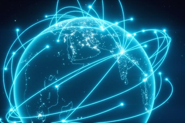 Conexiones mundiales con luces de la ciudad