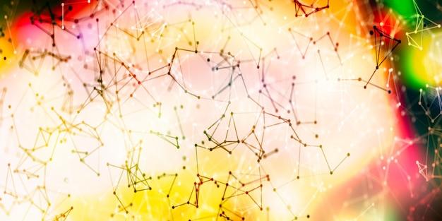 Conexiones de red global abstractas con puntos y líneas. estructura alámbrica de comunicaciones de red.
