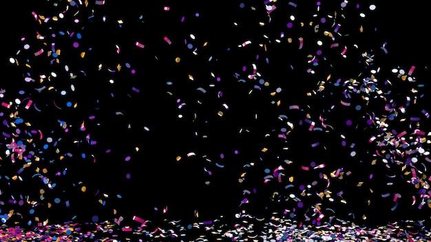 Confeti de colores sobre un fondo negro