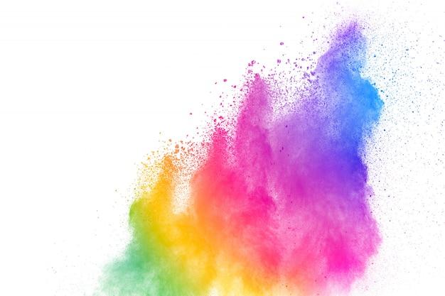 Congelar el movimiento de las explosiones de polvo coloreado.