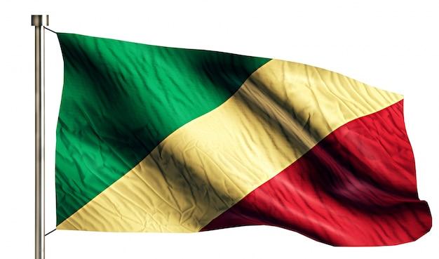 Congo bandera nacional aislado 3d fondo blanco