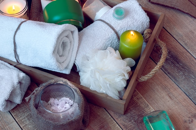 Conjunto de accesorios de baño para spa.