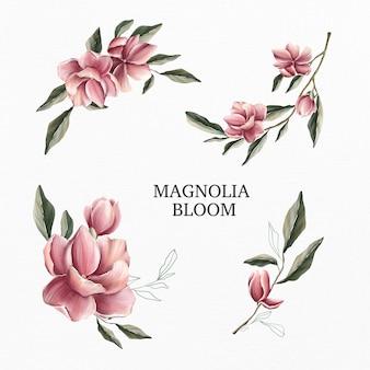 Conjunto acuarela de flor de magnolia
