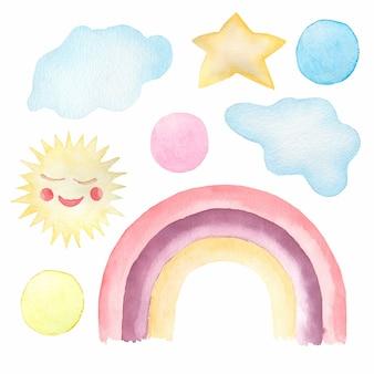 Conjunto acuarela de lindas ilustraciones infantiles - arco iris, su, nubes, lunares.