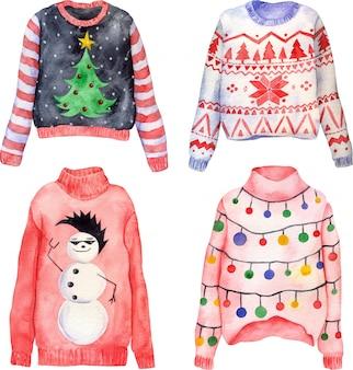 Conjunto acuarela de lindos suéteres de navidad feos dibujados a mano