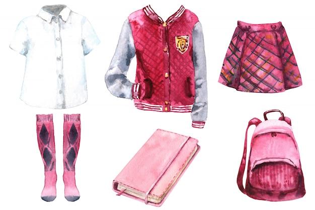 Conjunto de acuarela de uniforme escolar. de vuelta a la escuela. ropa universitaria icolada
