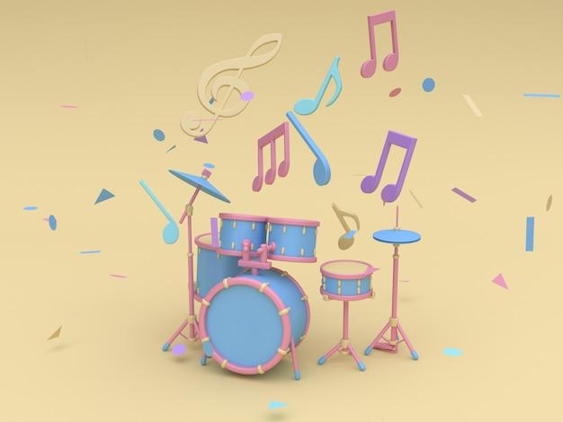 Conjunto de batería de radio azul-rosa 3d con muchas notas musicales, estilo de dibujos animados de sol clave amarillo suave representación 3d mínima