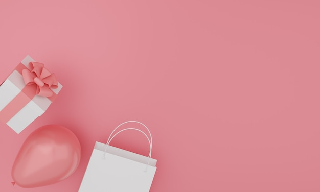 Conjunto de bolsa de papel de imitación, caja de regalo y globos sobre fondo de color rosa. diseño festivo. representación 3d.