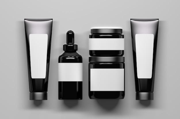 Conjunto de botellas de cosméticos brillante negro empaquetado con etiquetas blancas. botellas con espacio en blanco vacío. 3d ilustración