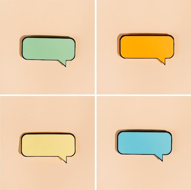 Conjunto de burbujas cómicas de colores sobre fondo beige