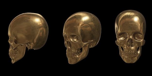 Conjunto de cabeza de calavera dorada representación 3d