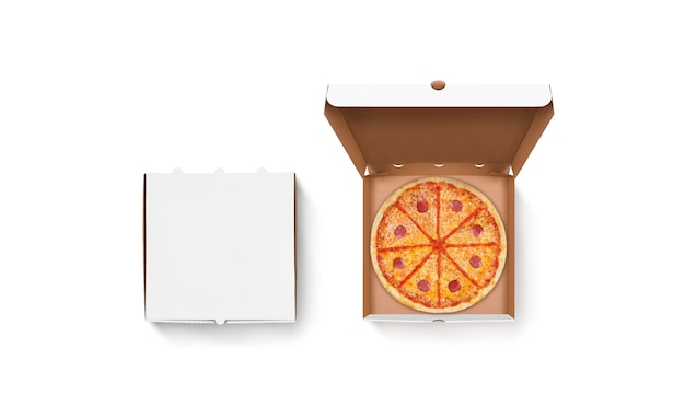 Conjunto de caja de pizza abierta y cerrada blanca en blanco aislado