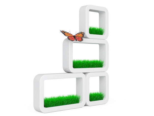 Conjunto de césped en macetas de cerámica blanca con mariposa sobre un fondo blanco. representación 3d