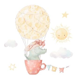 Conjunto de cocodrilo de dibujos animados lindo en globo de aire caliente. ilustración acuarela