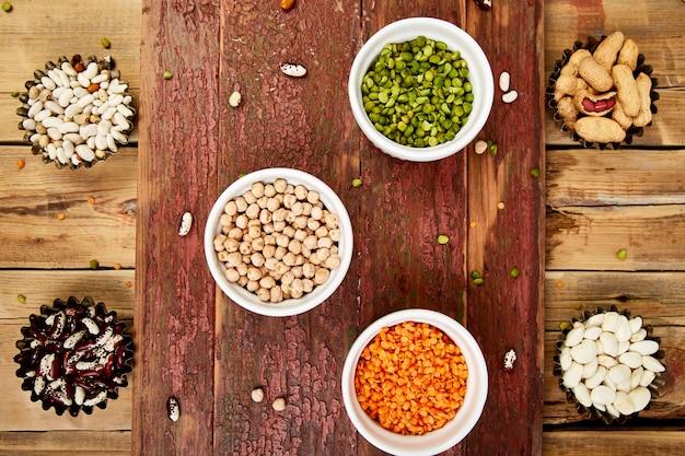 Conjunto de colección de frijoles y legumbres.