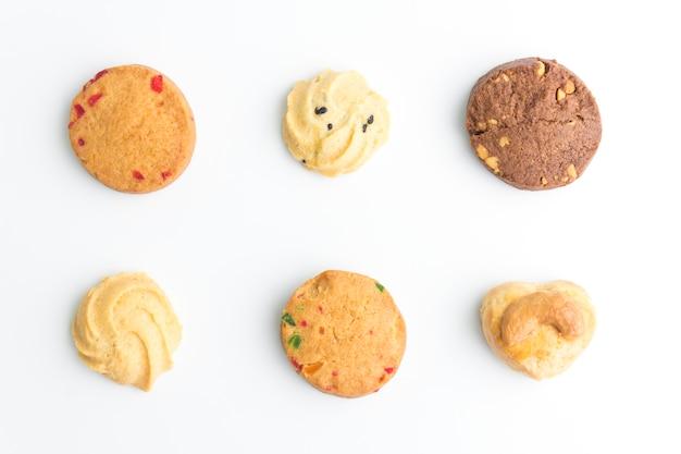 Conjunto de cookies en la vista superior