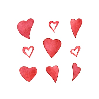 Conjunto de corazones de acuarela para la tarjeta del día de san valentín.