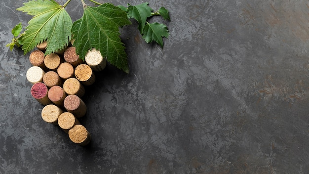 Conjunto de corchos de vino con espacio de copia