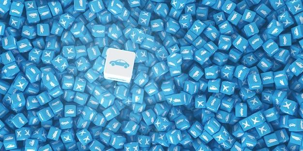 Conjunto de cubos con logotipos de vehículos dibujados sobre ellos.
