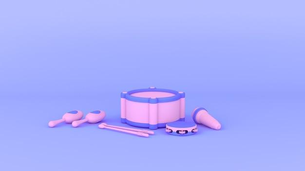 Conjunto de instrumentos 3d púrpura y rosa juguete de niños, fondo mínimo púrpura de estilo