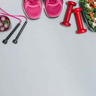 Conjunto de deportista saludable