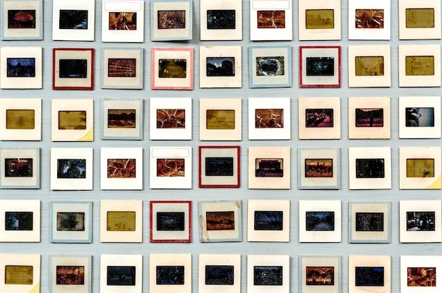 Conjunto de diapositivas de película analógica retro