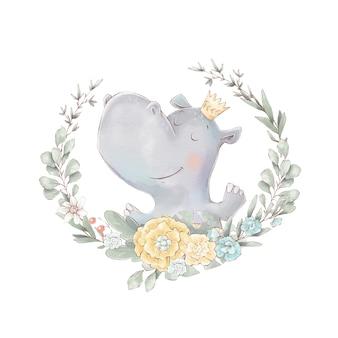 Conjunto de dibujos animados lindo hipopótamo y flores. ilustración de acuarela.