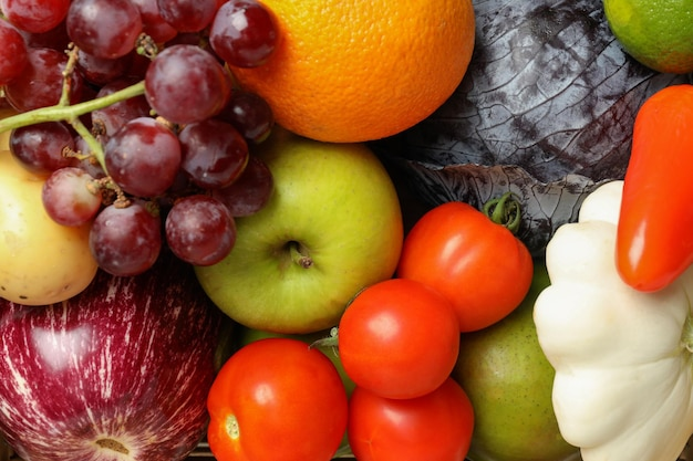 Conjunto de diferentes verduras y frutas, cerrar