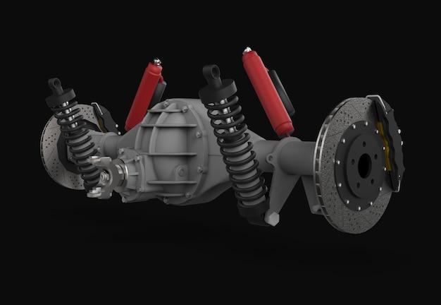 Conjunto de eje trasero con suspensión y frenos. amortiguadores rojos.