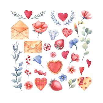 Conjunto de elementos de acuarela para el día de san valentín.