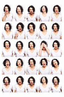 Conjunto de emociones de una joven bella mujer. morena brillante con pelo rizado y labios rojos. fondo blanco. vertical.