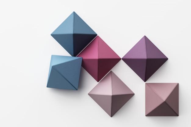Conjunto de esferas de pirámide realista verde púrpura azul amarillo colorido con textura de tela en blanco representación 3d
