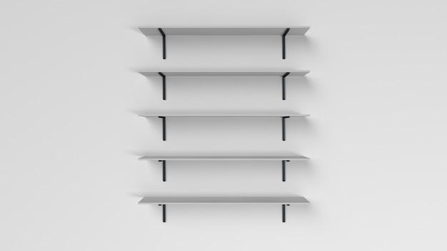 Conjunto de estantes aislados en la pared