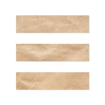 Conjunto de etiquetas de papel. cerca de un pedazo de papel de nota. pedazo de periodico