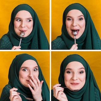 Conjunto de expresión de la cara de la mujer musulmana comer con una cuchara blanca