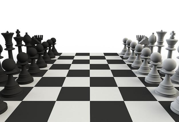 Conjunto de figuras de ajedrez en el tablero de juego sobre fondo blanco