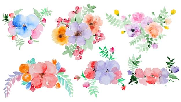 Conjunto de flores de acuarela